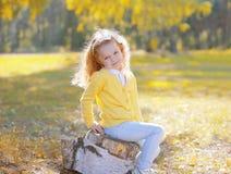 De leuke zitting van het meisjekind op stomp in de zonnige herfst Royalty-vrije Stock Afbeeldingen