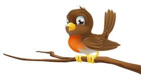 De leuke zitting van Robin op een boomtak Stock Afbeelding