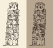 De leunende Toren van Pisa en Kathedraal (Italië), wijnoogst graveerde illustratie, getrokken hand Royalty-vrije Stock Afbeeldingen