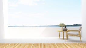 De leunstoel ontspant op terras in hotel - het 3D Teruggeven Royalty-vrije Stock Foto