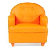 De Leunstoel van het leer van oranje kleur Royalty-vrije Stock Foto