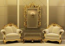 De leunstoelen van de luxe met frame in oud stijlbinnenland Vector Illustratie