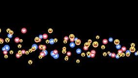 De levende reacties van Facebook - emoji van Positieven slechts reacties in het stromen levende video op alpha- kanaal
