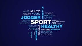 De levensstijl geschikte fitness van sport stoot de gezonde jogger achtergrond van de het woordwolk van de oefeningsagent de vrou vector illustratie