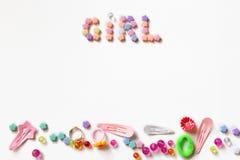 De levensstijl van meisjetoebehoren op wit wordt geplaatst dat Stock Fotografie