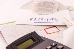 De levering van de belastingsvoorbereiding en een kalender Royalty-vrije Stock Foto