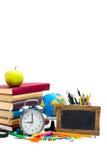 De Levering van de school op witte achtergrond Stock Foto's