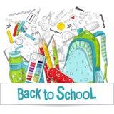 De levering van de school en van het bureau Kantoorbehoeftenillustraties voor grafisch ontwerp, Webbanners en drukmaterialen vector illustratie
