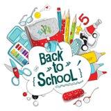 De levering van de school en van het bureau Lay-outmalplaatje van kantoorbehoeften voor grafisch ontwerp, Webbanners en drukmater stock illustratie