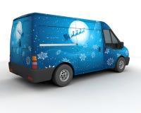 De leveringsbestelwagen van Kerstmis Stock Foto