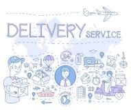 De leveringsdienst Infographics Vector illustratie Stock Foto