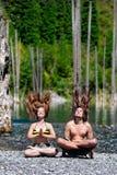 De levitatiehaar van de yoga omhoog Stock Foto