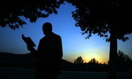 De lezing van de mens in de zonsondergang stock afbeelding