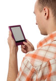 De lezings e-boek van de mens apparaat stock foto