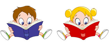 De lezingsboeken van de jongen en van het meisje Stock Foto's