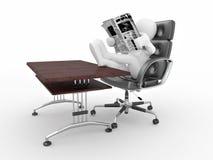 De lezingskrant van de mens in bureau. vector illustratie