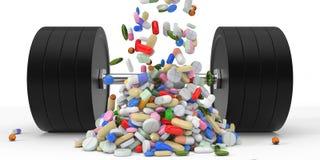 De lichaamsbouw supplementen en dumbell 3D Illustratie Stock Fotografie