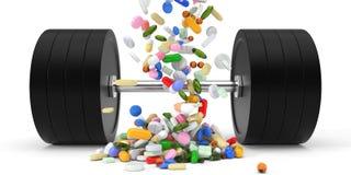 De lichaamsbouw supplementen en dumbell 3D Illustratie Stock Afbeelding