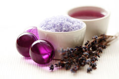 De lichaamsverzorging van de lavendel Stock Fotografie