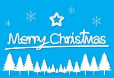 De lichtblauwe het document van de Kerstmisdag ster van de prentbriefkaarsneeuwvlok backgroun stock illustratie