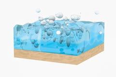 De lichtblauwe kubus van de watergolf, met creatieve gebiedenbel, het 3d teruggeven vector illustratie