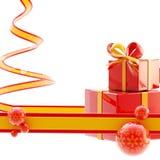 De lichte achtergrond van Kerstmis: linten en giften Stock Foto's