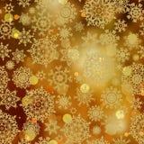 De lichte gouden sneeuwvlokken en schitteren fonkelingen. EPS 8 Royalty-vrije Stock Afbeelding