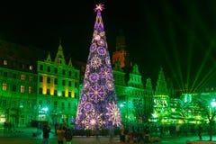 De lichte laser toont op Marktvierkant, Wroclaw, Polen stock afbeelding