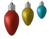 De lichte ornamenten van Kerstmis die op wit worden geïsoleerd_ royalty-vrije illustratie