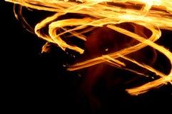 De lichte pijn van de wervelingsbrand bij nacht Stock Foto's