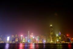 De lichte prestaties tonen van wolkenkrabbers in Hong Kong Stock Foto