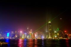 De lichte prestaties tonen van wolkenkrabbers in Hong Kong Royalty-vrije Stock Afbeelding