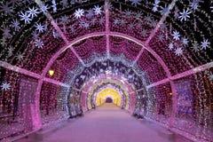 De lichte tunnel op Tverskoy-Boulevard Stock Afbeeldingen