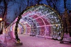 De lichte tunnel op Tverskoy-Boulevard Stock Foto's