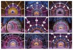 De lichte tunnel op Tverskoy-Boulevard, collage Royalty-vrije Stock Foto's