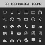 30 de lichte vectorillustratie van technologiepictogrammen Royalty-vrije Stock Afbeeldingen