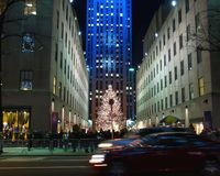 De lichte vertoning van de vakantie op Centrum Rockefeller Royalty-vrije Stock Afbeeldingen