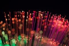 De lichten abstracte achtergrond van de vezeloptica Stock Foto
