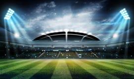 De lichten bij nacht en 3d het stadion geven terug, Stock Foto