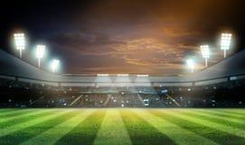 De lichten bij nacht en 3d het stadion geven terug, Royalty-vrije Stock Foto