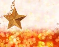 De lichten en de ster van Kerstmis Stock Fotografie