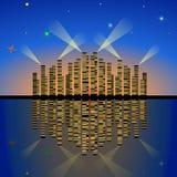 De lichten van de avondstad met bezinning over het water vector illustratie