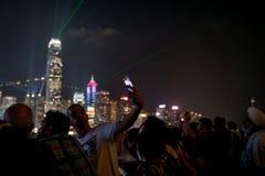 De lichten van de commerciële horizon van Hong Kong defocused bachground aan royalty-vrije stock fotografie