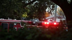 De lichten van de brandvrachtwagen het opvlammen stock videobeelden