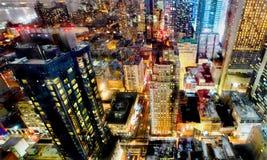 De lichten van de de stadsnacht van New York Stock Fotografie