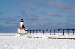 De Lichten van de Golfbreker van de Stad van Michigan en het Signaal van de Mist royalty-vrije stock afbeelding