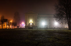 De lichten van de Kerstmisschool van de nachtstad Stock Foto's
