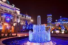 De lichten van de nacht van het centrale spoorweggebouw Royalty-vrije Stock Afbeeldingen