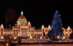 De lichten van de nacht in Victoria Stock Foto