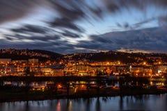 De lichten van de nachtstad Stock Foto's